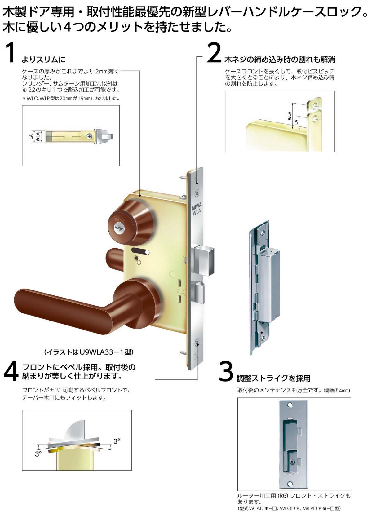 MIWA,美和ロック U9WLA木製ドア用レバーハンドル錠